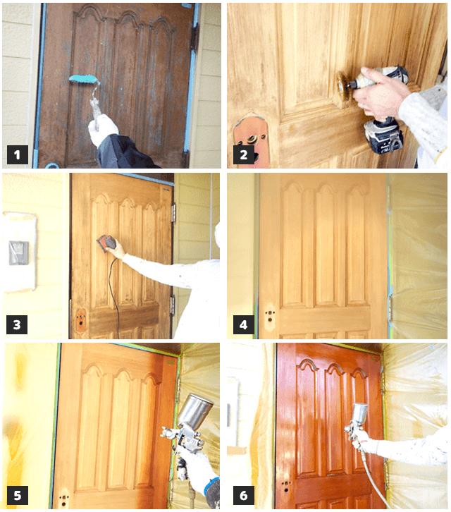 木製玄関の修繕