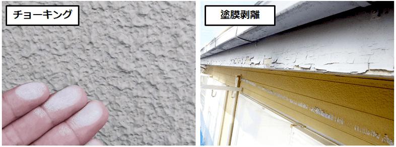外壁塗装の不具合 チョーキングと塗膜剥離